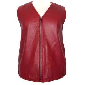 Nordstrom |100% leather vest | pockets | full zip